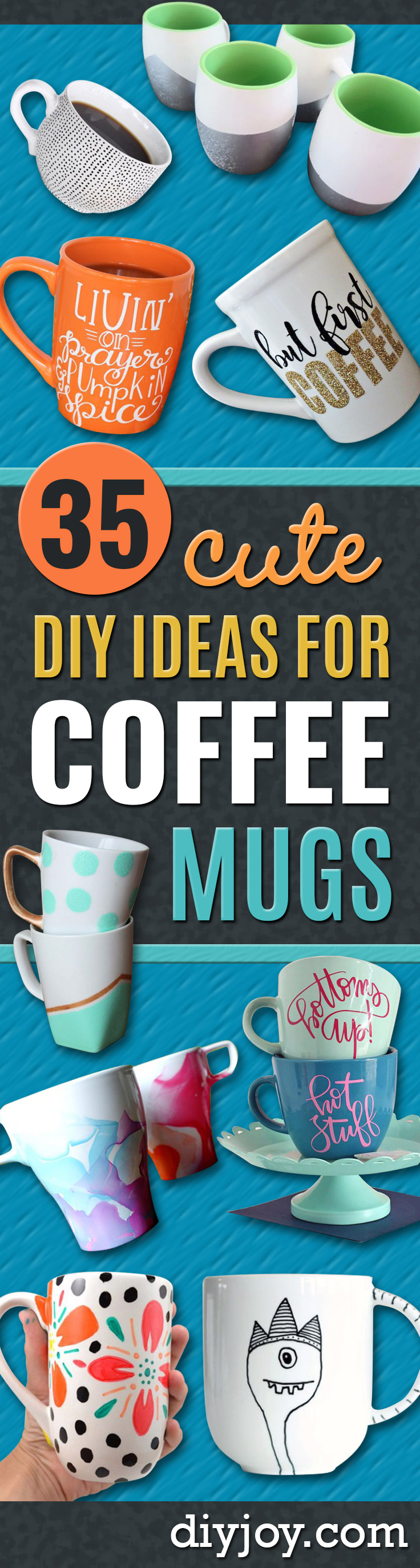 DIY Coffee Mugs - Easy Coffee Mug Ideas for Homemade Gifts and Crafts - Decorate Your Coffee Cups and Tumblers With These Cool Art Ideas - Glitter, Paint, Sharpie Craft, Nail Polish Water Marble and Teen Projects http://diyjoy.com/diy-coffee-mugs