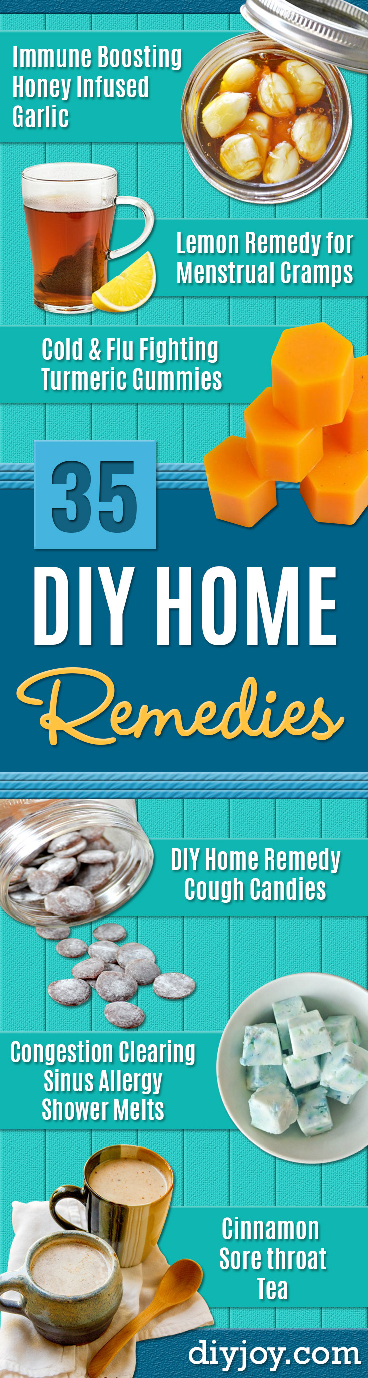 DIY Home Remedies - Homemade Recipes and Ideas for Help Relieve Symptoms of Cold and Flu, Upset Stomach, Rash, Cough, Sore Throat, Headache and Illness - Skincare Products, Balms, Lotions and Teas - Homeopathic Solutions and Remedy for Common Sickness http://diyjoy.com/diy-home-remedies