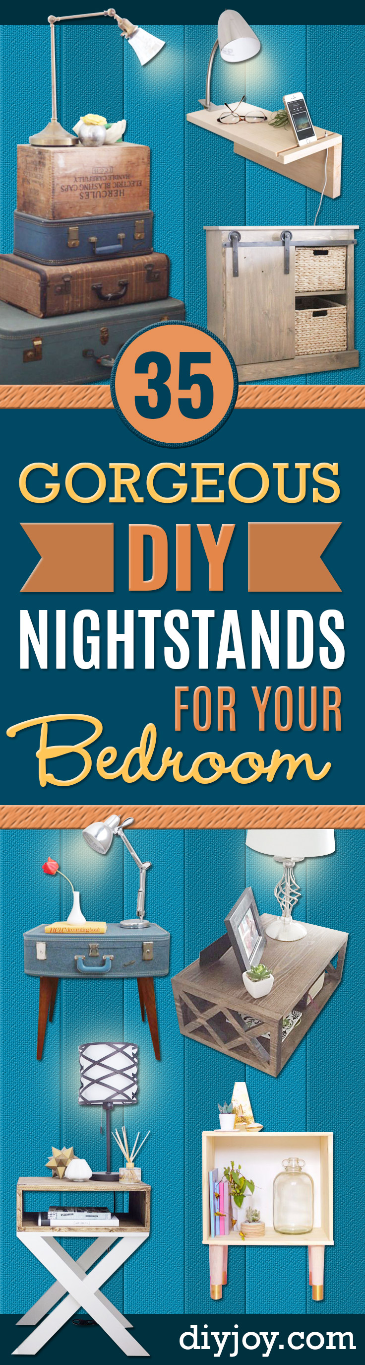 DIY Nightstands for the Bedroom - Easy Do It Yourself Bedside Tables and Furniture Project Ideas - Thrift Store Makeovers For Your Room and Bed Side Night Stand - Storage for Books and Remotes, Cute Shabby Chic and Vintage Decor - Step by Step Tutorials and Instructions http://diyjoy.com/diy-nightstands-bedroom