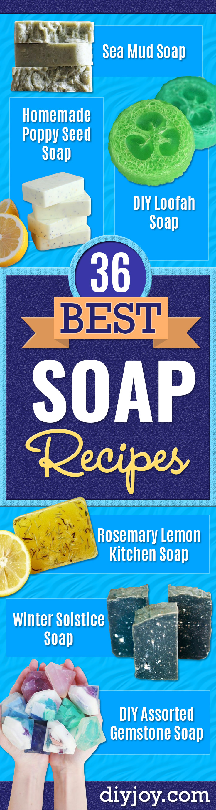 DIY Soap Recipes - Melt and Pour, Homemade Recipe Without Lye - Natural Soap crafts for Kids - Shea Butter, Essential Oils, Easy Ides With 3 Ingredients - Pretty and Creative Soap Tutorials With Step by Step Instructions for Handmade Soap Making - Cool Stuff To Make and Sell On Etsy http://diyjoy.com/diy-soap-recipes