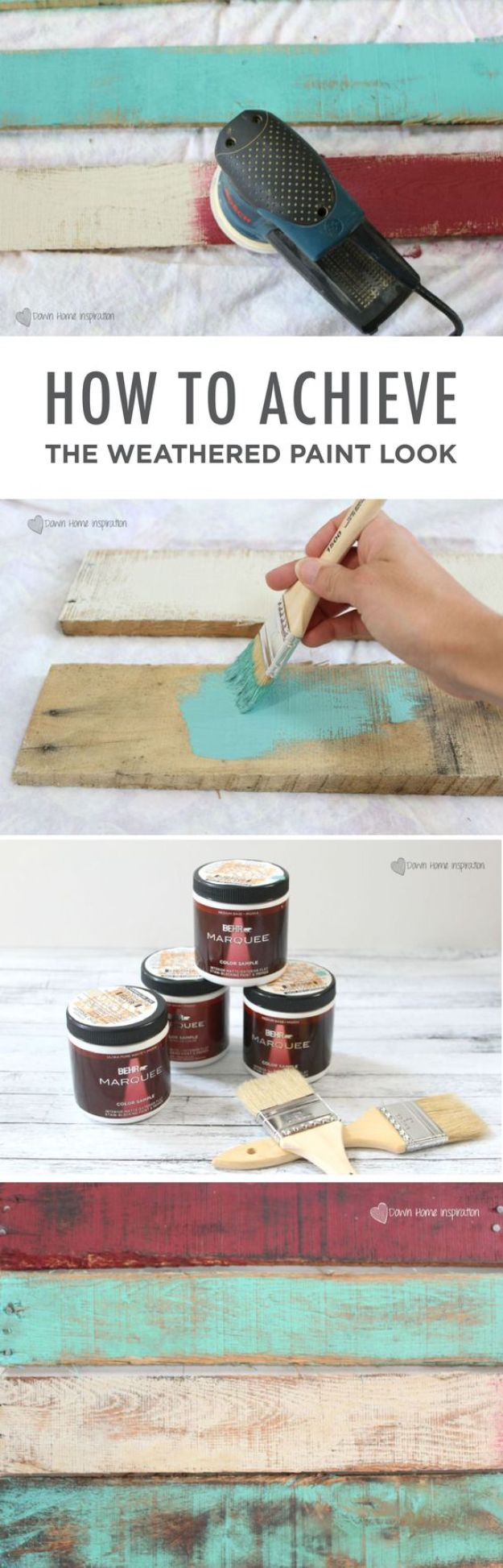 DIY Painting Hacks - Achieve the Weathered Paint Look - Easy Ways To Shortcut House Painting - Wall Prep, Painters Tape, Trim, Edging, Ceiling, Exterior Cutting In, Furniture and Crafts Paint Tips - Paint Your House Or Your Room With These Time Saving Painter Hacks and Quick Tricks http://diyjoy.com/diy-painting-hacks
