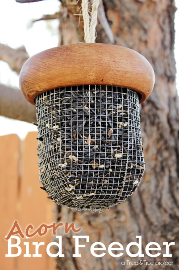 DIY Bird Feeders - Acorn Bird Feeder - Easy Do It Yourself Homemade Bird Feeder Ideas from Mason Jar, Wooden, Wine Bottle, Milk Jug, Plastic, Dollar Store Supplies - Squirrel Proof, Unique and Creative Tutorials That Make Cool DIY Gifts #diyideas #birds