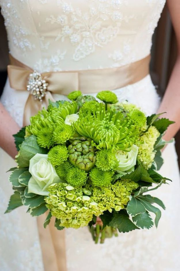 DIY Flowers for Weddings - Apple Green Bridal Bouquet - Centerpieces, Bouquets, Arrangements for Wedding Ceremony - Aisle Ideas, Rustic Bouquet Projects - Paper, Cheap, Fake Floral, Silk Flower Centerpiece To Make For Brides on A Budget - Decor for Spring, Summer, Winter and Fall http://diyjoy.com/diy-flowers-for-weddings