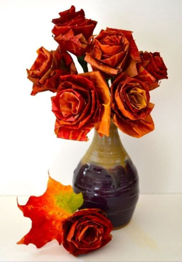 Rose Crafts - Autumn Leaf Bouquet - Easy Craft Projects With Roses - Paper Flowers, Quilt Patterns, DIY Rose Art for Kids - Dried and Real Roses for Wall Art and Do It Yourself Home Decor - Mothers Day Gift Ideas - Fake Rose Arrangements That Look Amazing - Cute Centerrpieces and Crafty DIY Gifts With A Rose http://diyjoy.com/rose-crafts
