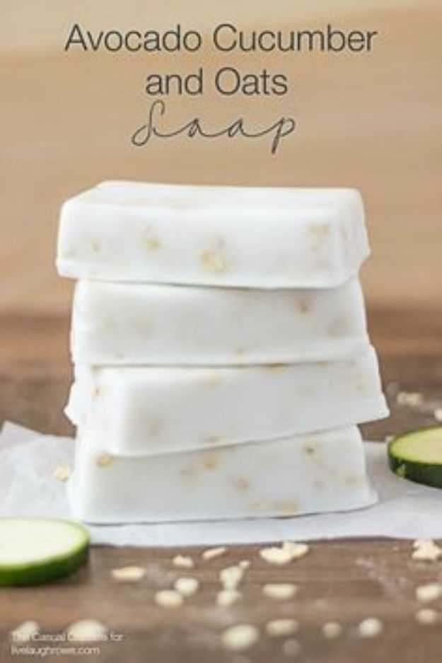 DIY Soap Recipes - Avocado Cucumber and Oats Soap - Melt and Pour, Homemade Recipe Without Lye - Natural Soap crafts for Kids - Shea Butter, Essential Oils, Easy Ides With 3 Ingredients - soap recipes with step by step tutorials #soap #diygifts