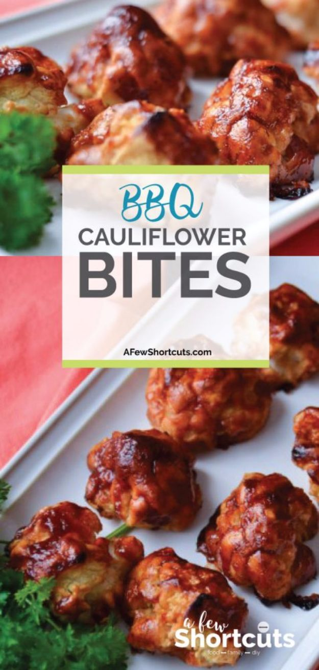 Best Barbecue Recipes - BBQ Cauliflower Bites - Easy BBQ Recipe Ideas for Lunch, Dinner and Quick Party Appetizers - Grilled and Smoked Foods, Chicken, Beef and Meat, Fish and Vegetable Ideas for Grilling - Sauces and Rubs, Seasonings and Favorite Bar BBQ Tips #bbq #bbqrecipes #grilling