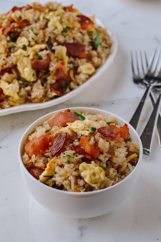 Best Brunch Recipes - Bacon and Egg Fried Rice - Eggs, Pancakes, Waffles, Casseroles, Vegetable Dishes and Side, Potato Recipe Ideas for Brunches - Serve A Crowd and Family with the versions of Eggs Benedict, Mimosas, Muffins and Pastries, Desserts - Make Ahead , Slow Cooler and Healthy Casserole Recipes #brunch #breakfast #recipes