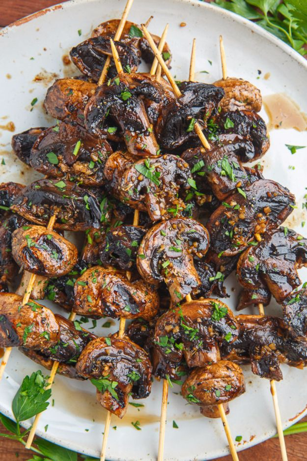 Best Barbecue Recipes - Balsamic Garlic Grilled Mushroom Skewers - Easy BBQ Recipe Ideas for Lunch, Dinner and Quick Party Appetizers - Grilled and Smoked Foods, Chicken, Beef and Meat, Fish and Vegetable Ideas for Grilling - Sauces and Rubs, Seasonings and Favorite Bar BBQ Tips