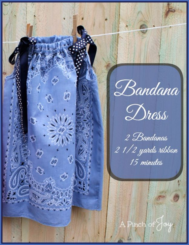 DIY Ideas With Bandanas - Bandana Baby Dress - Bandana Crafts and Decor Projects Made With A Bandana - No Sew Ideas, Bags, Bracelets, Hats, Halter Tops, Blankets and Quilts, Headbands, Simple Craft Project Tutorials for Kids and Teens - Home Decoration and Country Themed Crafts To Make and Sell On Etsy http://diyjoy.com/diy-ideas-bandanas