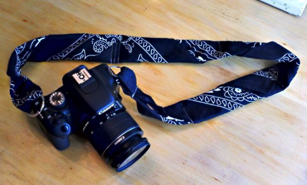DIY Ideas With Bandanas - Bandana Camera Strip Re-do - Bandana Crafts and Decor Projects Made With A Bandana - No Sew Ideas, Bags, Bracelets, Hats, Halter Tops, Blankets and Quilts, Headbands, Simple Craft Project Tutorials for Kids and Teens - Home Decoration and Country Themed Crafts To Make and Sell On Etsy http://diyjoy.com/diy-ideas-bandanas