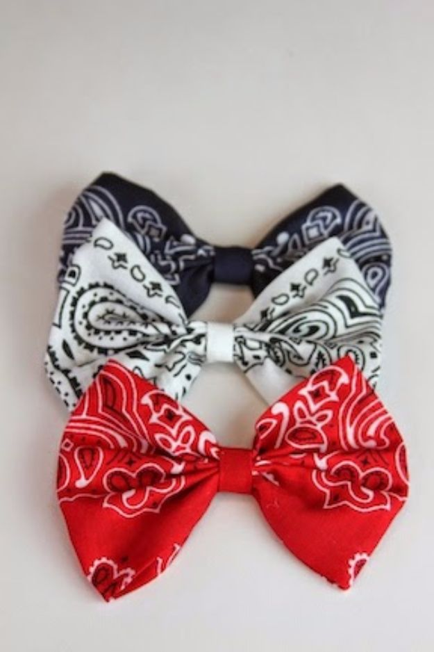 DIY Ideas With Bandanas - Bandana Hair Bow - Bandana Crafts and Decor Projects Made With A Bandana - No Sew Ideas, Bags, Bracelets, Hats, Halter Tops, Blankets and Quilts, Headbands, Simple Craft Project Tutorials for Kids and Teens - Home Decoration and Country Themed Crafts To Make and Sell On Etsy http://diyjoy.com/diy-ideas-bandanas