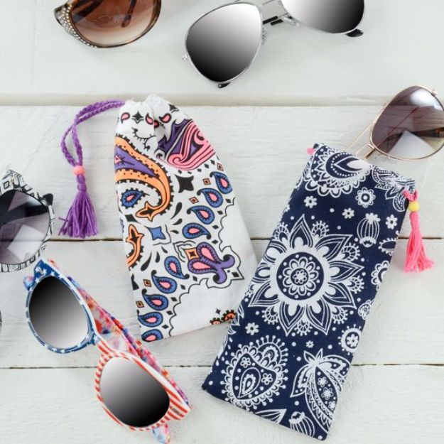 DIY Ideas With Bandanas - Bandana Sunglass Case - Bandana Crafts and Decor Projects Made With A Bandana - No Sew Ideas, Bags, Bracelets, Hats, Halter Tops, Blankets and Quilts, Headbands, Simple Craft Project Tutorials for Kids and Teens - Home Decoration and Country Themed Crafts To Make and Sell On Etsy #crafts #country #diy