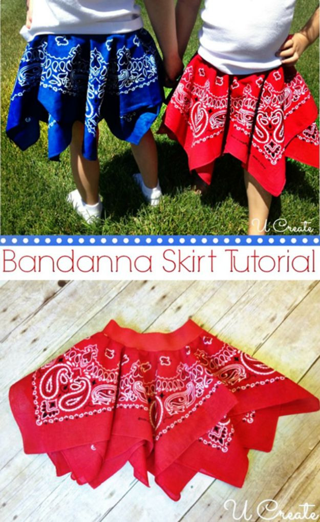 DIY Ideas With Bandanas - Bandanna Summer Skirt - Bandana Crafts and Decor Projects Made With A Bandana - No Sew Ideas, Bags, Bracelets, Hats, Halter Tops, Blankets and Quilts, Headbands, Simple Craft Project Tutorials for Kids and Teens - Home Decoration and Country Themed Crafts To Make and Sell On Etsy http://diyjoy.com/diy-ideas-bandanas