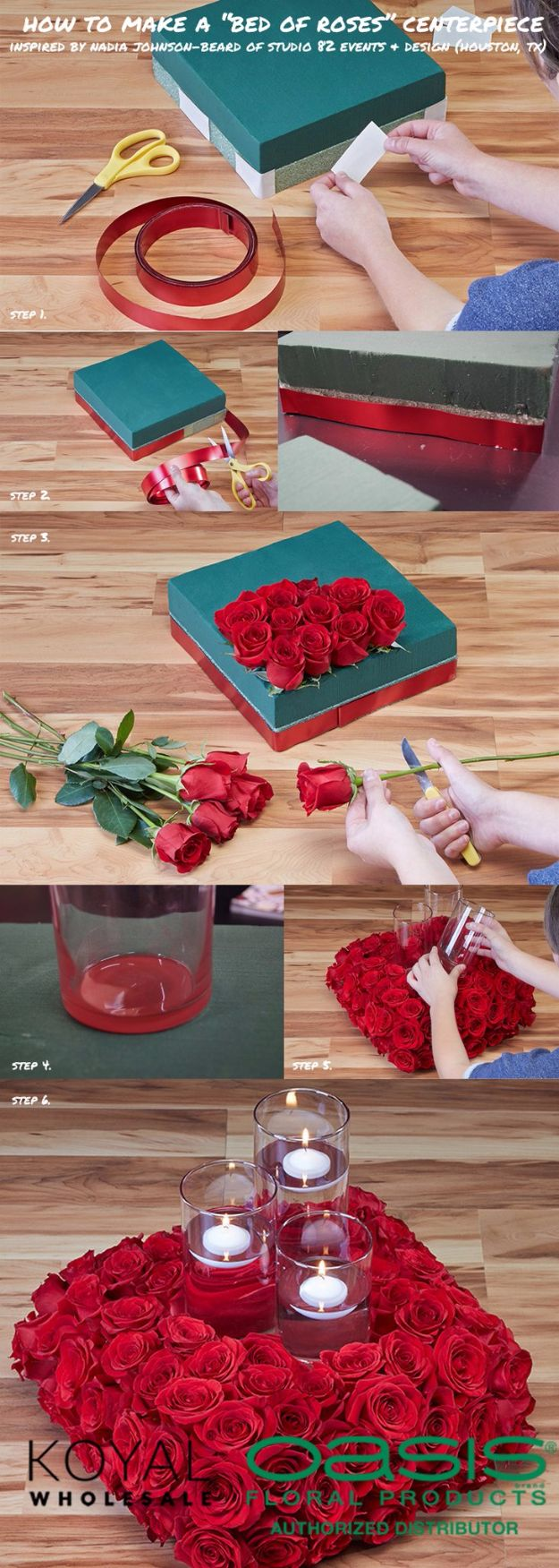DIY Flowers for Weddings - Bed Of Roses Centerpiece - Centerpieces, Bouquets, Arrangements for Wedding Ceremony - Aisle Ideas, Rustic Bouquet Projects - Paper, Cheap, Fake Floral, Silk Flower Centerpiece To Make For Brides on A Budget - Decor for Spring, Summer, Winter and Fall http://diyjoy.com/diy-flowers-for-weddings
