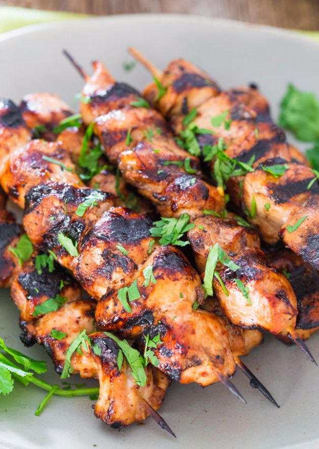 Barbecue Recipes for The Grill - Beer and Honey BBQ Chicken Skewers - Easy Grilling Ideas for Lunch, Dinner and Quick Party Appetizers - Grilled and Smoked Foods, Chicken, Beef and Meat, Fish and Vegetable Ideas for Grilling - Sauces and Rubs, Seasonings and Favorite Bar BBQ Tips