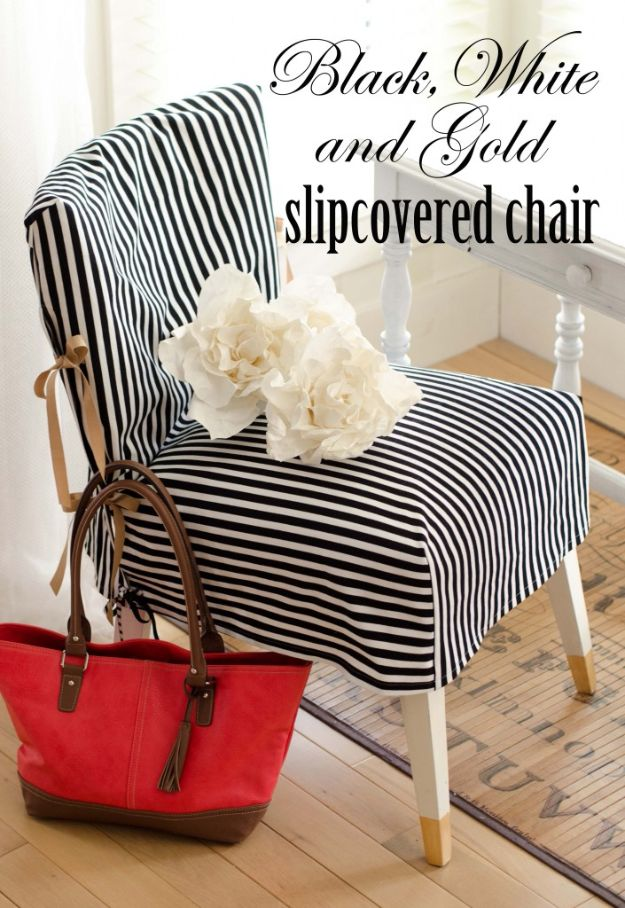 DIY Slipcovers - Black, White, and Gold Slip Covered Chair - Do It Yourself Slip Covers For Furniture - No Sew Ideas, Easy Fabrics Four Couch and Sofa Cover - Chair Projects and Ideas, How To Make a Slip cover with step by step tutorial and instructions - Cool DIY Home and Living Room Decor http://diyjoy.com/diy-slipcovers