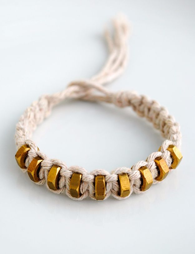 Macrame Crafts - Braided Hex-nut Bracelet - DIY Ideas and Easy Macrame Projects for Home Decor, Gifts and Wall Art - Cool Bracelets, Plant Holders, Beautiful Dream Catchers, Things To Make and Sell on Etsy, How To Make Knots for Your Macrame Craft Projects, Fun Ideas Even Kids and Teens Can Make #macrame #crafts #diyideas