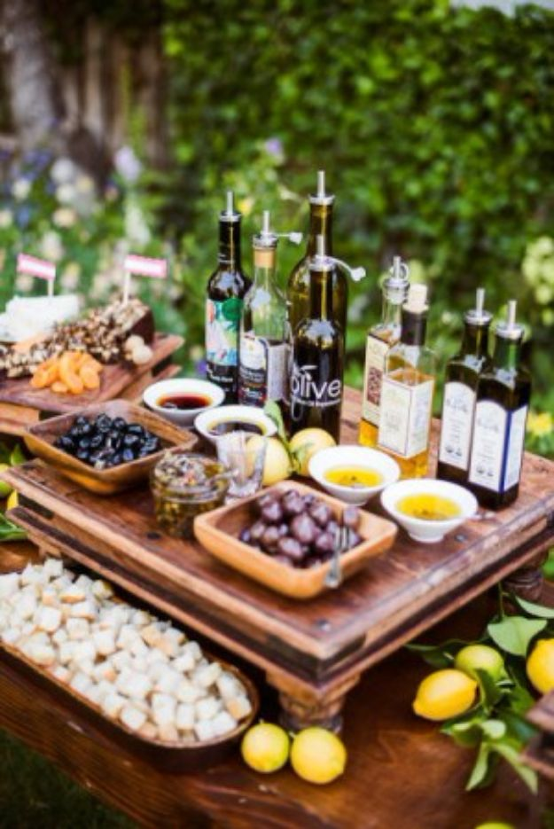 Best Dinner Party Ideas - Bread Dipping Bar - Best Recipes for Foods to Serve, Casseroles, Finger Foods, Desserts and Appetizers- Place Settings and Cards, Centerpieces, Table Decor and Recipe Ideas for Supper Clubs and Dinner Parties http://diyjoy.com/best-dinner-party-ideas