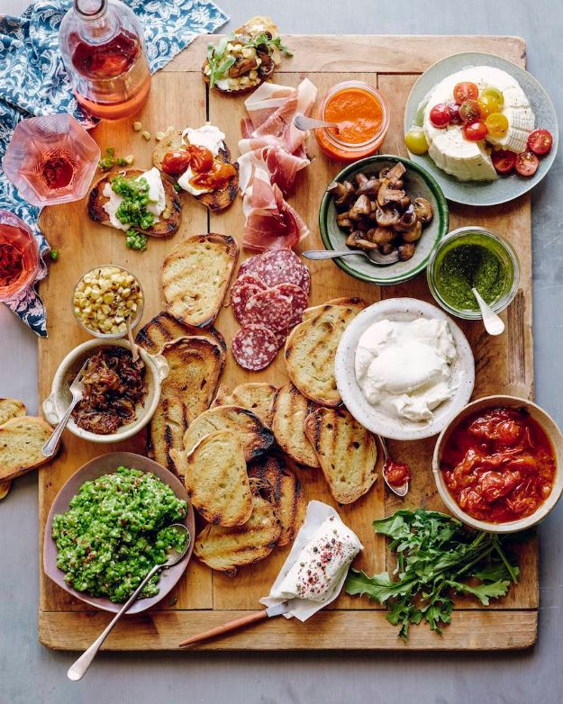 Best Dinner Party Ideas - Bruschetta Bar - Best Recipes for Foods to Serve, Casseroles, Finger Foods, Desserts and Appetizers- Place Settings and Cards, Centerpieces, Table Decor and Recipe Ideas for Supper Clubs and Dinner Parties http://diyjoy.com/best-dinner-party-ideas