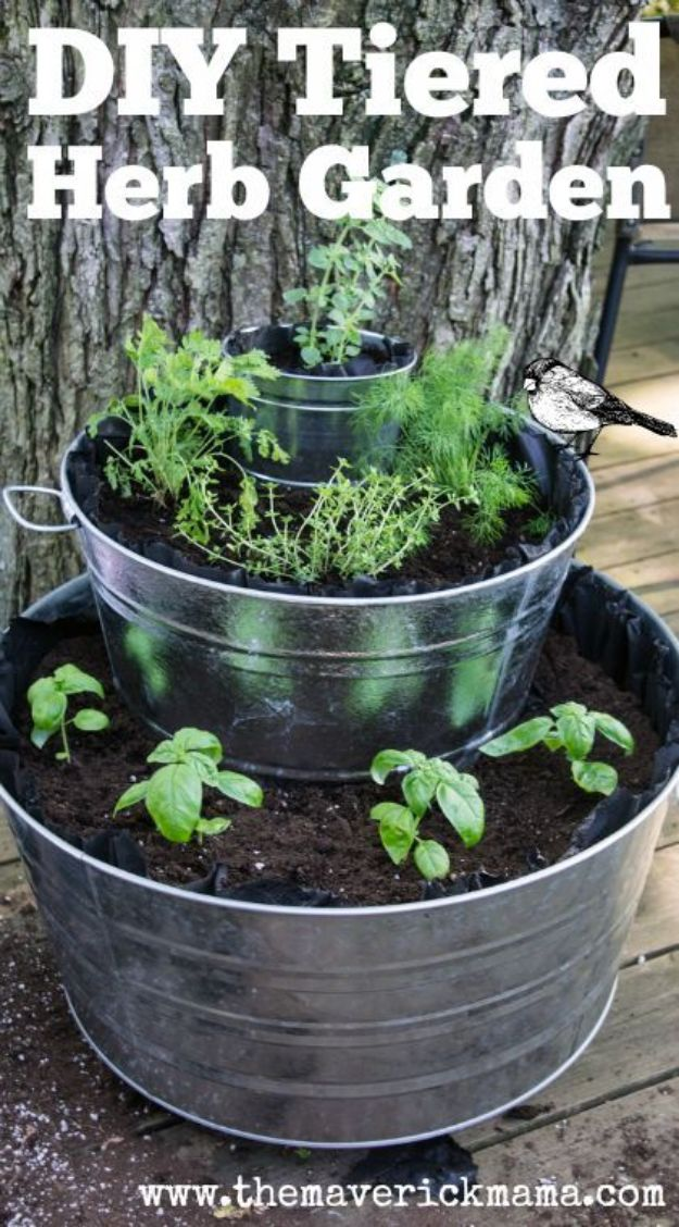 Container Gardening Ideas - Build A Tiered Herb Garden - Easy Garden Projects for Containers and Growing Plants in Small Spaces - DIY Potting Tips and Planter Boxes for Vegetables, Herbs and Flowers - Simple Ideas for Beginners -Shade, Full Sun, Pation and Yard Landscape Idea tutorials http://diyjoy.com/container-gardening-ideas