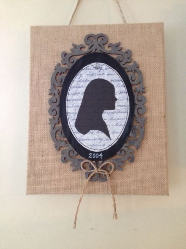 DIY Burlap Ideas - Burlap Canvas Silhouette - Burlap Furniture, Home Decor and Crafts - Banners and Buntings, Wall Art, Ottoman from Coffee Sacks, Wreath, Centerpieces and Table Runner - Kitchen, Bedroom, Living Room, Bathroom Ideas - Shabby Chic Craft Projects and DIY Wedding Decor http://diyjoy.com/diy-burlap-decor-ideas