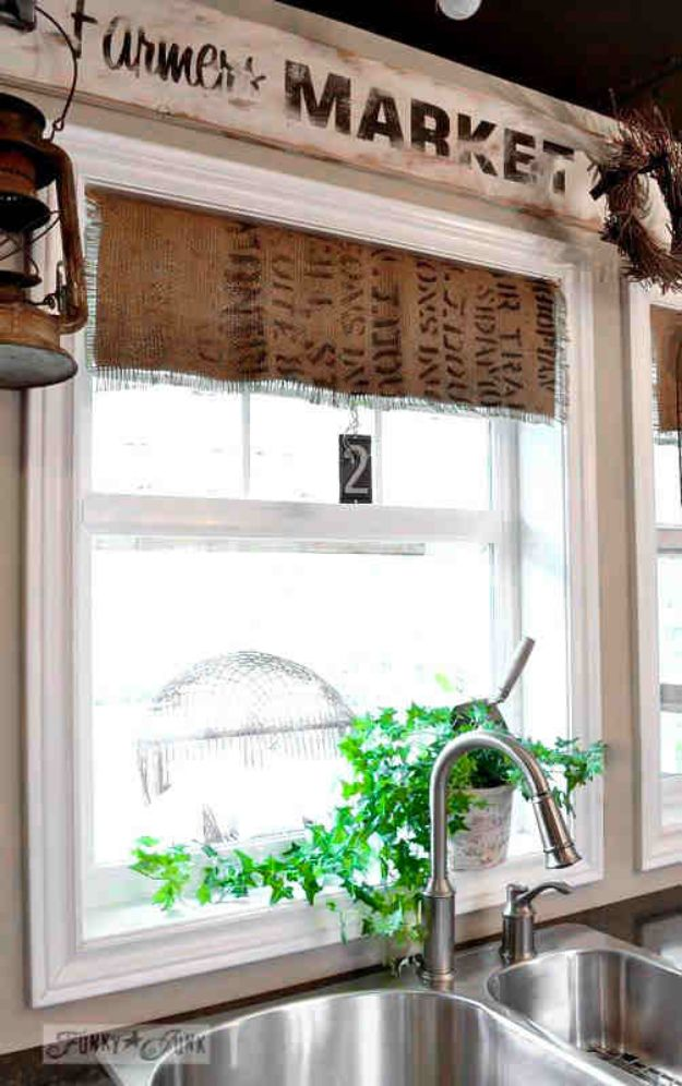 DIY Burlap Ideas - Burlap Coffee Bean Sack Window Shades - Burlap Furniture, Home Decor and Crafts - Banners and Buntings, Wall Art, Ottoman from Coffee Sacks, Wreath, Centerpieces and Table Runner - Kitchen, Bedroom, Living Room, Bathroom Ideas - Shabby Chic Craft Projects and DIY Wedding Decor http://diyjoy.com/diy-burlap-decor-ideas
