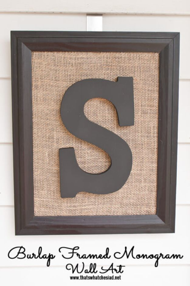 DIY Burlap Ideas - Burlap Framed Monogram Wall Art - Burlap Furniture, Home Decor and Crafts - Banners and Buntings, Wall Art, Ottoman from Coffee Sacks, Wreath, Centerpieces and Table Runner - Kitchen, Bedroom, Living Room, Bathroom Ideas - Shabby Chic Craft Projects and DIY Wedding Decor http://diyjoy.com/diy-burlap-decor-ideas