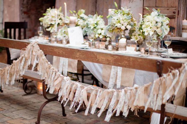 DIY Burlap Ideas - Burlap Garland - Burlap Furniture, Home Decor and Crafts - Banners and Buntings, Wall Art, Ottoman from Coffee Sacks, Wreath, Centerpieces and Table Runner - Kitchen, Bedroom, Living Room, Bathroom Ideas - Shabby Chic Craft Projects and DIY Wedding Decor http://diyjoy.com/diy-burlap-decor-ideas