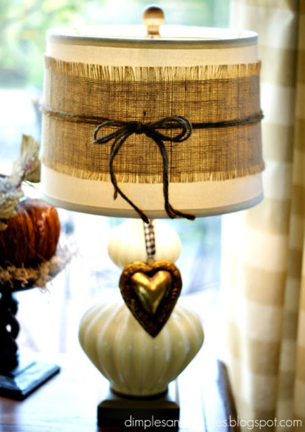 DIY Burlap Ideas - Burlap Lampshade - Burlap Furniture, Home Decor and Crafts - Banners and Buntings, Wall Art, Ottoman from Coffee Sacks, Wreath, Centerpieces and Table Runner - Kitchen, Bedroom, Living Room, Bathroom Ideas - Shabby Chic Craft Projects and DIY Wedding Decor http://diyjoy.com/diy-burlap-decor-ideas