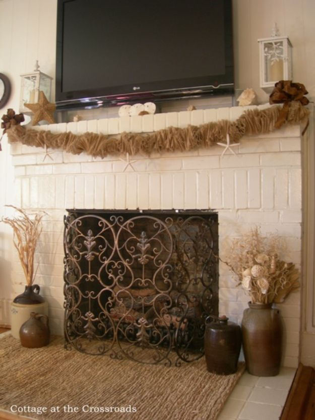 DIY Burlap Ideas - Burlap Mantel Garland - Burlap Furniture, Home Decor and Crafts - Banners and Buntings, Wall Art, Ottoman from Coffee Sacks, Wreath, Centerpieces and Table Runner - Kitchen, Bedroom, Living Room, Bathroom Ideas - Shabby Chic Craft Projects and DIY Wedding Decor http://diyjoy.com/diy-burlap-decor-ideas