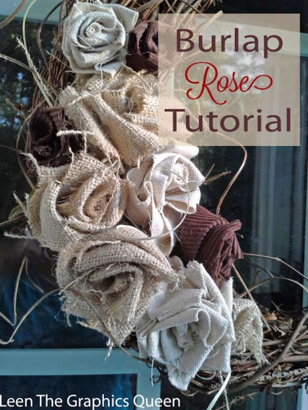 DIY Burlap Ideas - Burlap Rose - Burlap Furniture, Home Decor and Crafts - Banners and Buntings, Wall Art, Ottoman from Coffee Sacks, Wreath, Centerpieces and Table Runner - Kitchen, Bedroom, Living Room, Bathroom Ideas - Shabby Chic Craft Projects and DIY Wedding Decor http://diyjoy.com/diy-burlap-decor-ideas
