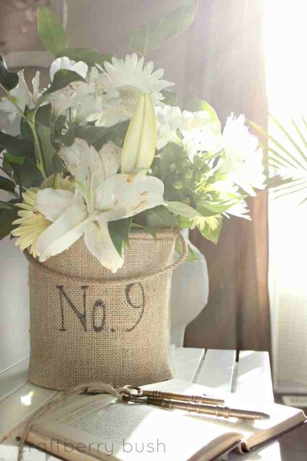 DIY Burlap Ideas - Burlap Vase - Burlap Furniture, Home Decor and Crafts - Banners and Buntings, Wall Art, Ottoman from Coffee Sacks, Wreath, Centerpieces and Table Runner - Kitchen, Bedroom, Living Room, Bathroom Ideas - Shabby Chic Craft Projects and DIY Wedding Decor http://diyjoy.com/diy-burlap-decor-ideas