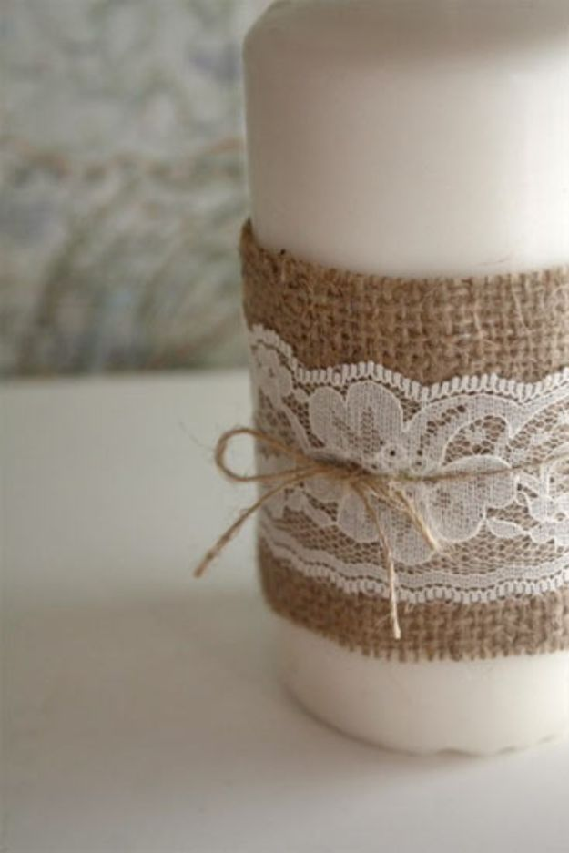 DIY Burlap Ideas - Burlap and Lace Candle - Burlap Furniture, Home Decor and Crafts - Banners and Buntings, Wall Art, Ottoman from Coffee Sacks, Wreath, Centerpieces and Table Runner - Kitchen, Bedroom, Living Room, Bathroom Ideas - Shabby Chic Craft Projects and DIY Wedding Decor http://diyjoy.com/diy-burlap-decor-ideas