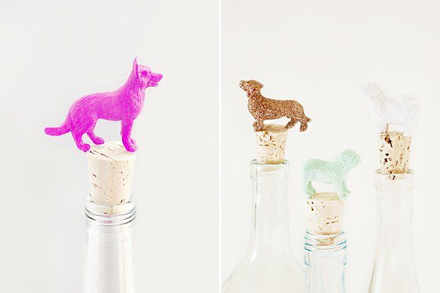 DIY Ideas With Dogs - Canine Wine Toppers - Cute and Easy DIY Projects for Dog Lovers - Wall and Home Decor Projects, Things To Make and Sell on Etsy - Quick Gifts to Make for Friends Who Have Puppies and Doggies - Homemade No Sew Projects- Fun Jewelry, Cool Clothes and Accessories http://diyjoy.com/diy-ideas-dogs