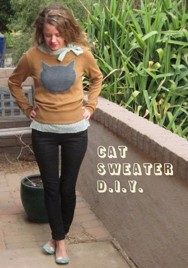 DIY Ideas With Cats - Cat Sweater DIY - Cute and Easy DIY Projects for Cat Lovers - Wall and Home Decor Projects, Things To Make and Sell on Etsy - Quick Gifts to Make for Friends Who Have Kittens and Kitties - Homemade No Sew Projects- Fun Jewelry, Cool Clothes, Pillows and Kitty Accessories http://diyjoy.com/diy-ideas-cats