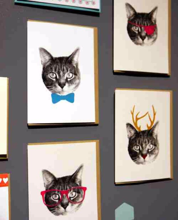 DIY Ideas With Cats - Cat Wall Printable Art - Cute and Easy DIY Projects for Cat Lovers - Wall and Home Decor Projects, Things To Make and Sell on Etsy - Quick Gifts to Make for Friends Who Have Kittens and Kitties - Homemade No Sew Projects- Fun Jewelry, Cool Clothes, Pillows and Kitty Accessories http://diyjoy.com/diy-ideas-cats