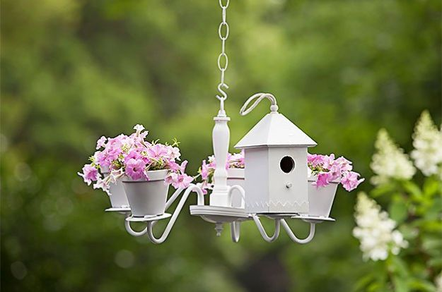 DIY Bird Houses - Chandelier Birdhouse and Planter - Easy Bird House Ideas for Kids and Adult To Make - Free Plans and Tutorials for Wooden, Simple, Upcyle Designs, Recycle Plastic and Creative Ways To Make Rustic Outdoor Decor and a Home for the Birds - Fun Projects for Your Backyard This Summer