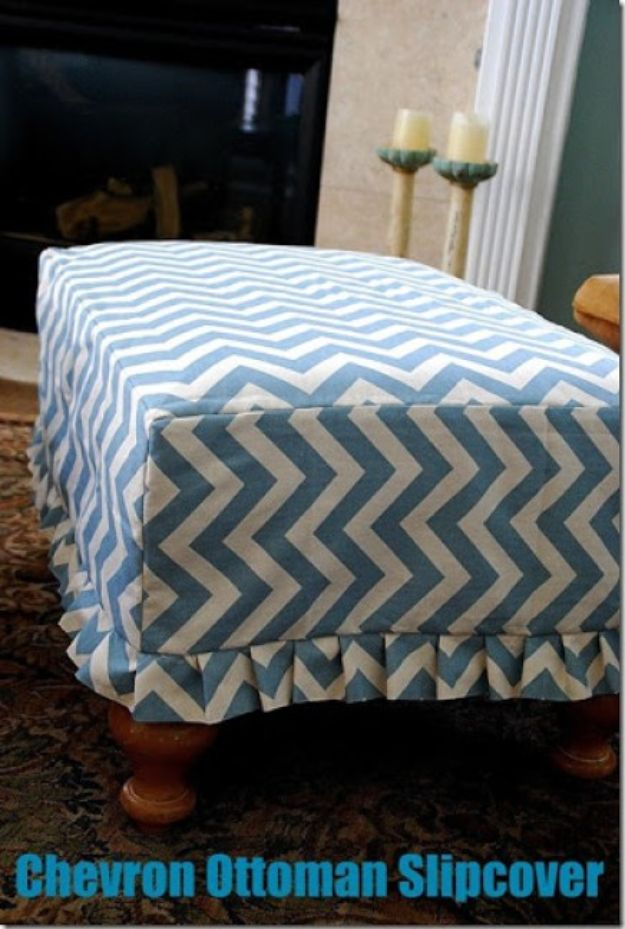 DIY Slipcovers - Chevron Ottoman Slipcover - Do It Yourself Slip Covers For Furniture - No Sew Ideas, Easy Fabrics Four Couch and Sofa Cover - Chair Projects and Ideas, How To Make a Slip cover with step by step tutorial and instructions - Cool DIY Home and Living Room Decor #slipcovers #diydecor