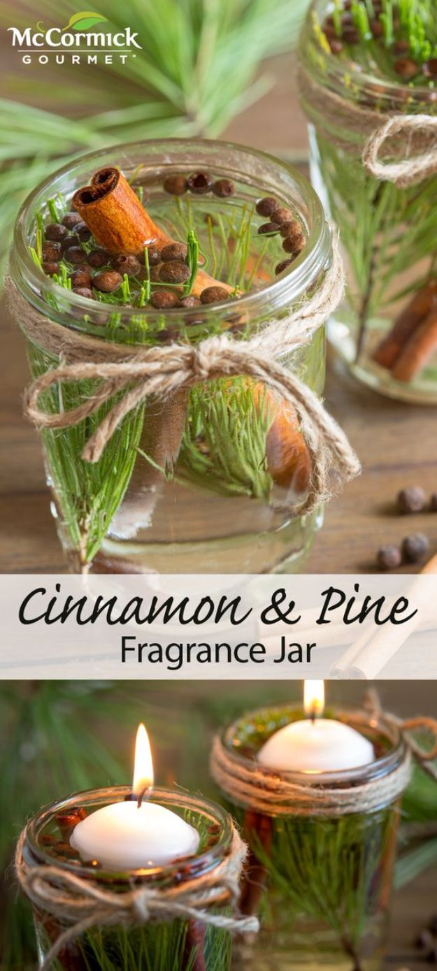 DIY Home Fragrance Ideas - Cinnamon And Pine Fragrance Jar - Easy Ways To Make your House and Home Smell Good - Essential Oils, Diffusers, DIY Lampe Berger Oil, Candles, Room Scents and Homemade Recipes for Odor Removal - Relaxing Lavender, Fresh Clean Smells, Lemon, Herb http://diyjoy.com/diy-home-fragrance-ideas