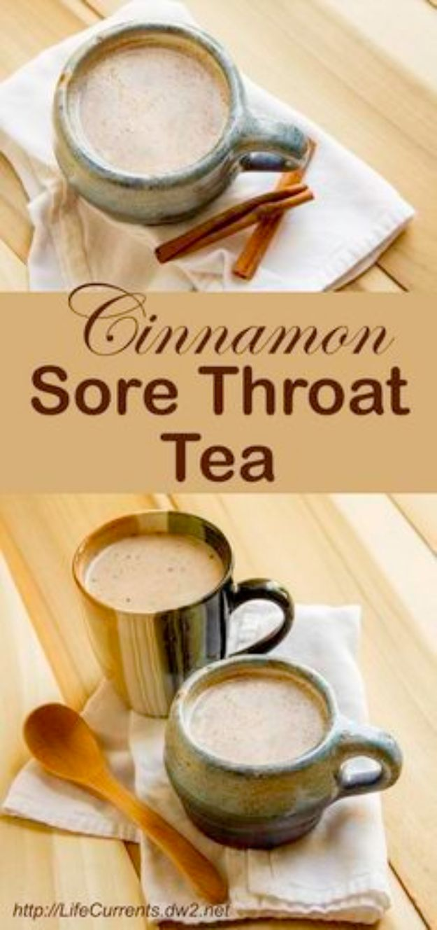 DIY Home Remedies - Cinnamon Sore Throat Tea - Homemade Recipes and Ideas for Help Relieve Symptoms of Cold and Flu, Upset Stomach, Rash, Cough, Sore Throat, Headache and Illness - Skincare Products, Balms, Lotions and Teas