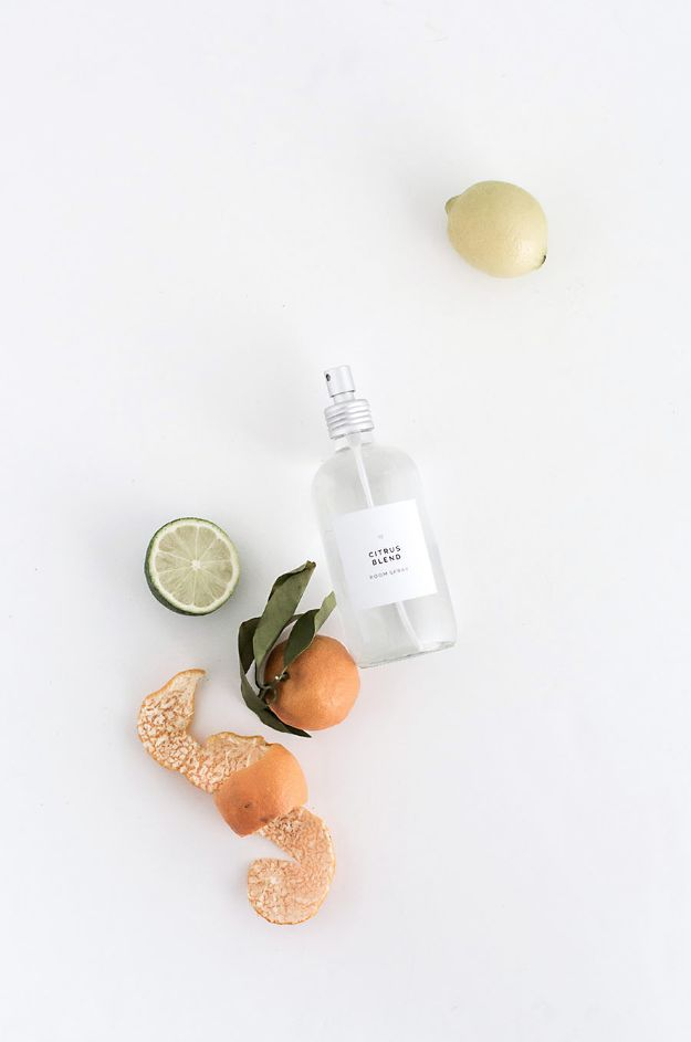 DIY Home Fragrance Ideas - Citrus Blend Room Spray - Easy Ways To Make your House and Home Smell Good - Essential Oils, Diffusers, DIY Lampe Berger Oil, Candles, Room Scents and Homemade Recipes for Odor Removal - Relaxing Lavender, Fresh Clean Smells, Lemon, Herb http://diyjoy.com/diy-home-fragrance-ideas