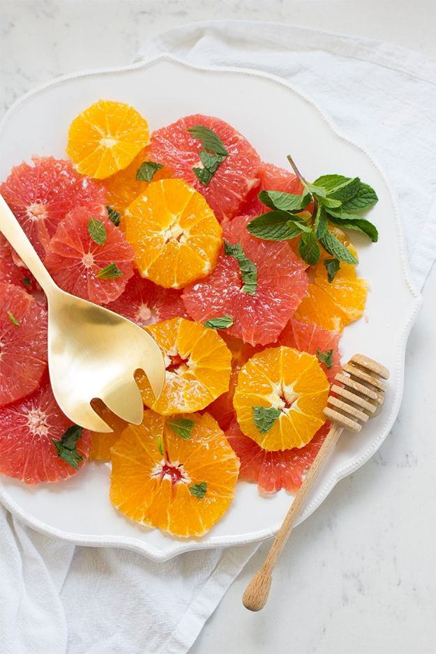 Best Brunch Recipes - Citrus Salad with Honey & Mint - Eggs, Pancakes, Waffles, Casseroles, Vegetable Dishes and Side, Potato Recipe Ideas for Brunches - Serve A Crowd and Family with the versions of Eggs Benedict, Mimosas, Muffins and Pastries, Desserts - Make Ahead , Slow Cooler and Healthy Casserole Recipes #brunch #breakfast #recipes