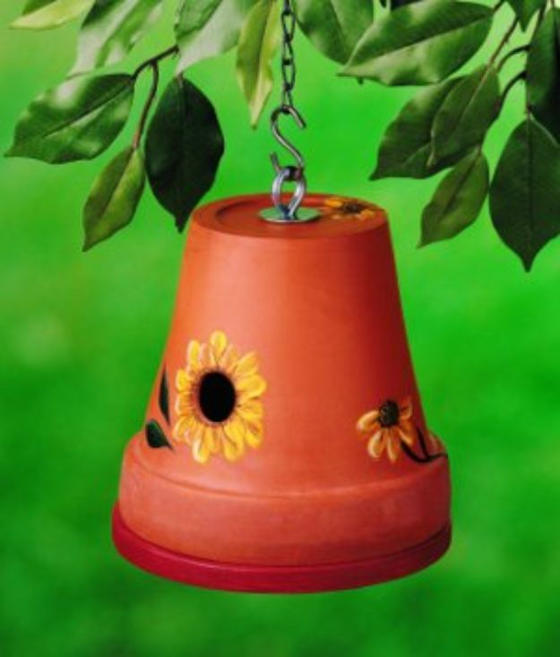 DIY Bird Houses - Clay Pot DIY Birdhouse - Easy Bird House Ideas for Kids and Adult To Make - Free Plans and Tutorials for Wooden, Simple, Upcyle Designs, Recycle Plastic and Creative Ways To Make Rustic Outdoor Decor and a Home for the Birds - Fun Projects for Your Backyard This Summer http://diyjoy.com/diy-bird-houses