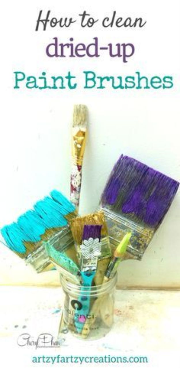 DIY Painting Hacks - Clean Dried-Up Paint Brushes - Easy Ways To Shortcut House Painting - Wall Prep, Painters Tape, Trim, Edging, Ceiling, Exterior Cutting In, Furniture and Crafts Paint Tips - Paint Your House Or Your Room With These Time Saving Painter Hacks and Quick Tricks http://diyjoy.com/diy-painting-hacks