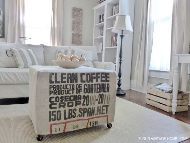 DIY Slipcovers - Coffee Sack Slipcover - Do It Yourself Slip Covers For Furniture - No Sew Ideas, Easy Fabrics Four Couch and Sofa Cover - Chair Projects and Ideas, How To Make a Slip cover with step by step tutorial and instructions - Cool DIY Home and Living Room Decor #slipcovers #diydecor