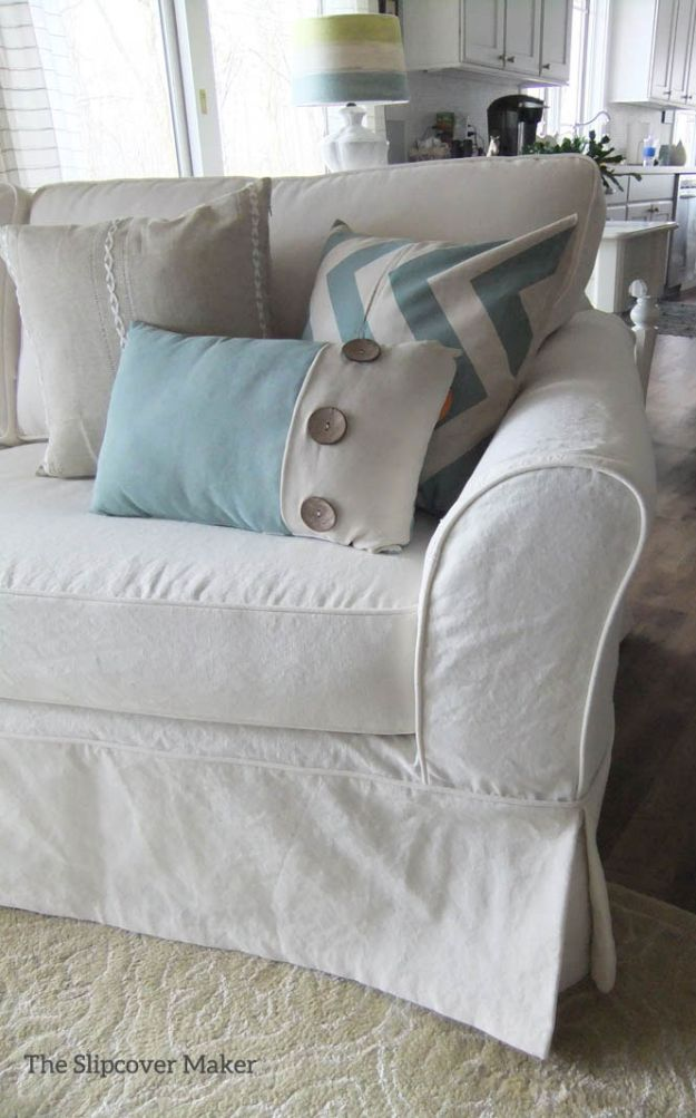 DIY Slipcovers - Cottage Style Canvas Slipcover - Do It Yourself Slip Covers For Furniture - No Sew Ideas, Easy Fabrics Four Couch and Sofa Cover - Chair Projects and Ideas, How To Make a Slip cover with step by step tutorial and instructions - Cool DIY Home and Living Room Decor #slipcovers #diydecor