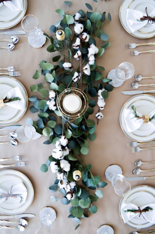 DIY Flowers for Weddings - Cotton Tablescape - Centerpieces, Bouquets, Arrangements for Wedding Ceremony - Aisle Ideas, Rustic Bouquet Projects - Paper, Cheap, Fake Floral, Silk Flower Centerpiece To Make For Brides on A Budget - Decor for Spring, Summer, Winter and Fall http://diyjoy.com/diy-flowers-for-weddings