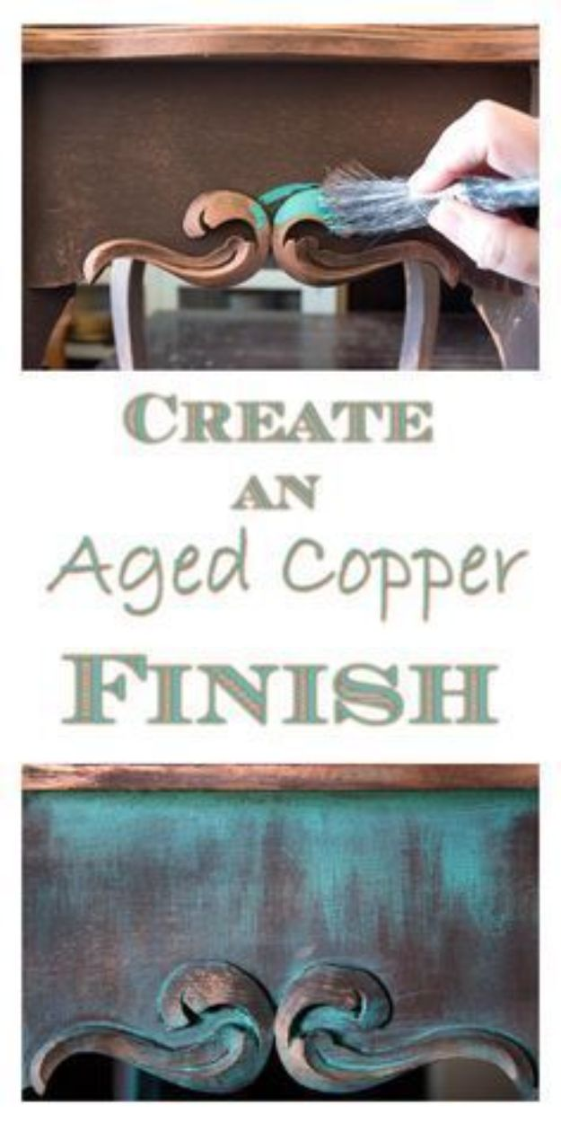 DIY Painting Hacks - Create An Aged Copper Finish - Easy Ways To Shortcut House Painting - Wall Prep, Painters Tape, Trim, Edging, Ceiling, Exterior Cutting In, Furniture and Crafts Paint Tips - Paint Your House Or Your Room With These Time Saving Painter Hacks and Quick Tricks http://diyjoy.com/diy-painting-hacks