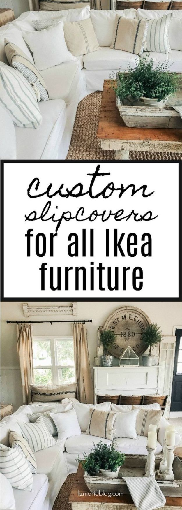 DIY Slipcovers - Custom Ikea Furniture Slipcovers - Do It Yourself Slip Covers For Furniture - No Sew Ideas, Easy Fabrics Four Couch and Sofa Cover - Chair Projects and Ideas, How To Make a Slip cover with step by step tutorial and instructions - Cool DIY Home and Living Room Decor #slipcovers #diydecor