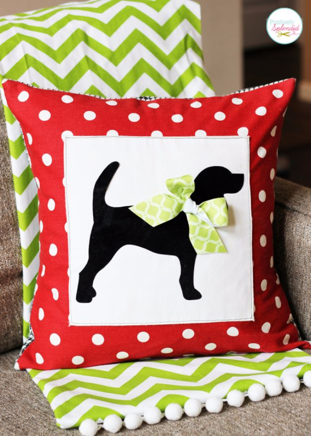 DIY Ideas With Dogs - Custom Pet Silhouette Pillow Cover - Cute and Easy DIY Projects for Dog Lovers - Wall and Home Decor Projects, Things To Make and Sell on Etsy - Quick Gifts to Make for Friends Who Have Puppies and Doggies - Homemade No Sew Projects- Fun Jewelry, Cool Clothes and Accessories http://diyjoy.com/diy-ideas-dogs